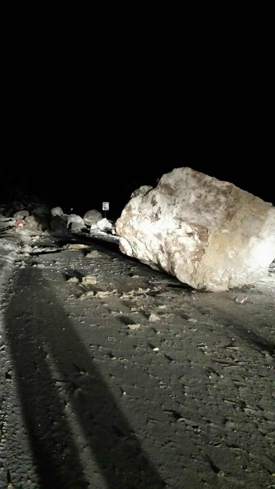The boulders that fell in the Saturday rock slide on Highway 24 were so large that they had to be broken into smaller pieces in order to be removed.