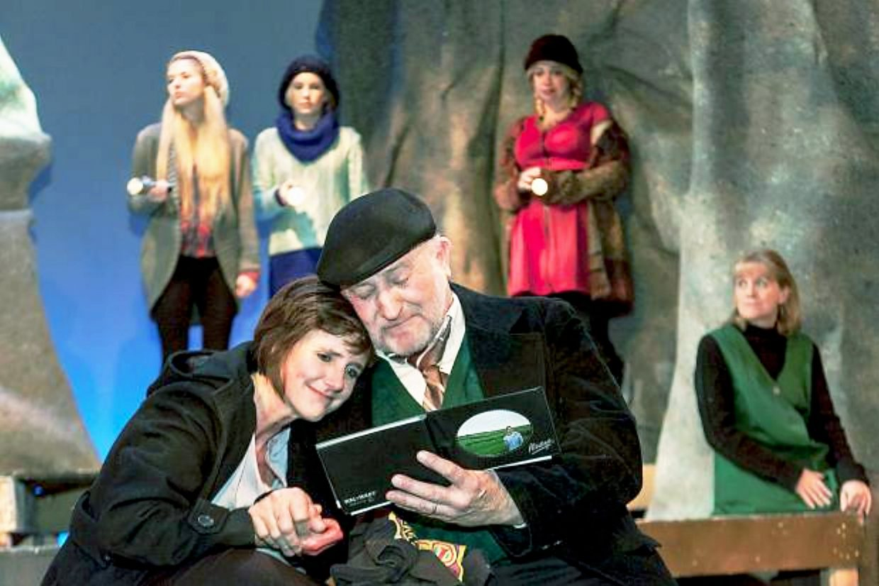 """Bob Moore with Kelly Ketzenbarger and Bob Moore in Sopris Theatre Company's February production of """"The Women of Lockerbie."""