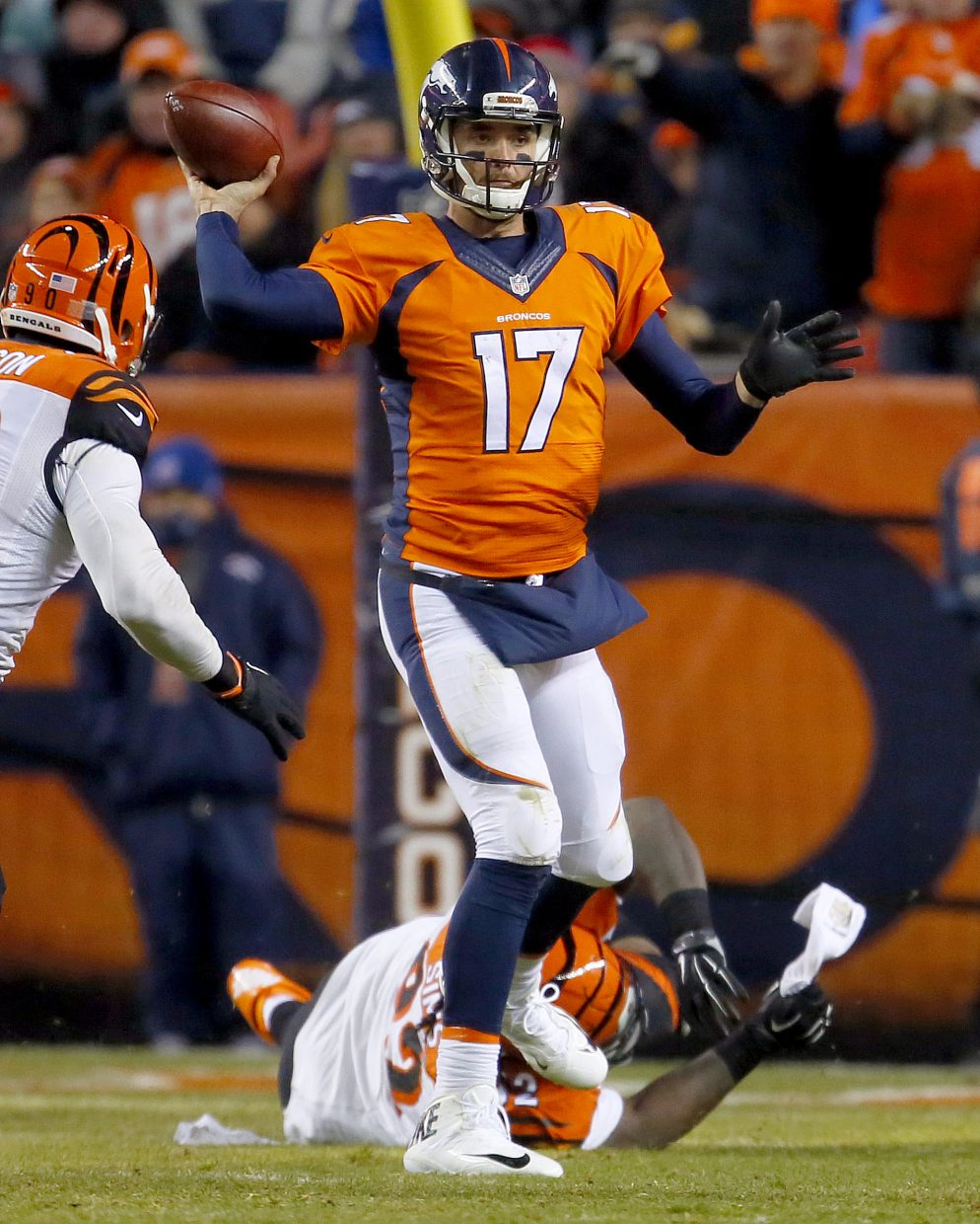 Denver Broncos quarterback Brock Osweiler (17) throws against the Cincinnati Bengals on Dec. 28 in Denver.