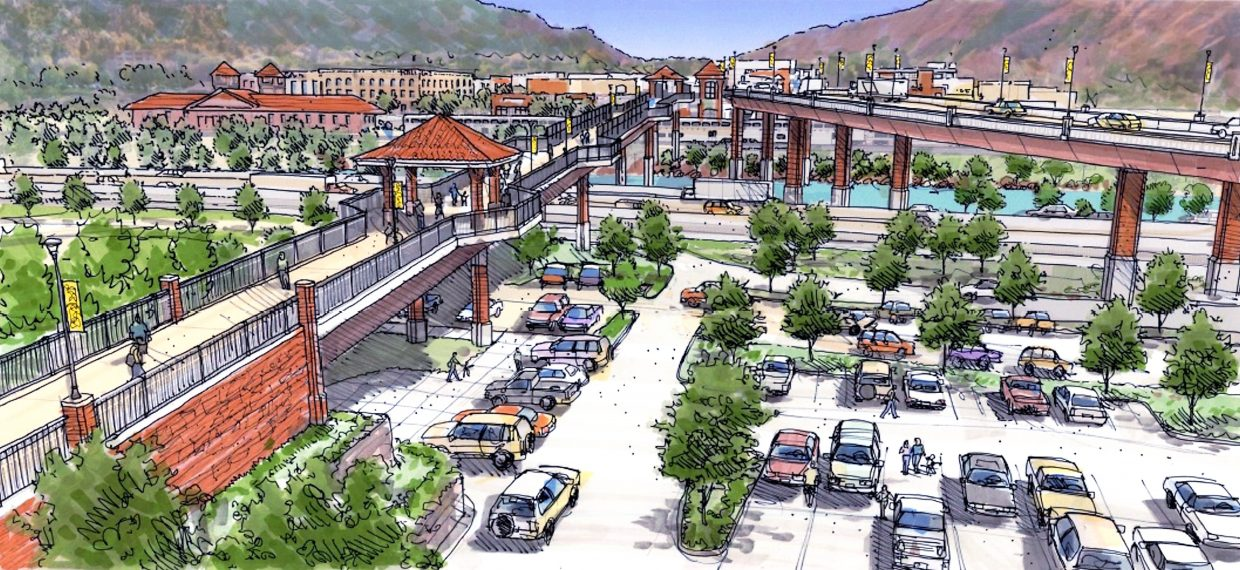 Final design renderings from the Colorado Department of Transportation Grand Avenue Bridge Project team provide a little more detail, including this view looking south over the Hot Springs Pool parking lot from Sixth Street. Final landscaping and lighting is still being designed and may vary from this depiction.