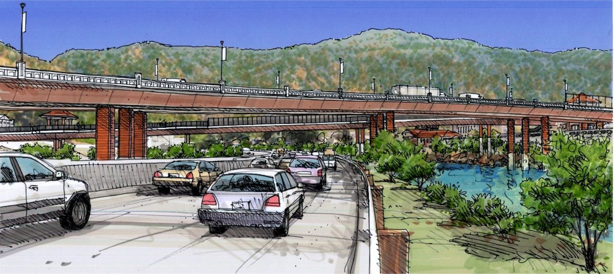 Final design renderings from the Colorado Department of Transportation Grand Avenue Bridge Project team provide a little more detail, including this view approaching the new bridge from eastbound I-70. Final landscaping and lighting is still being designed and may vary from this depiction.