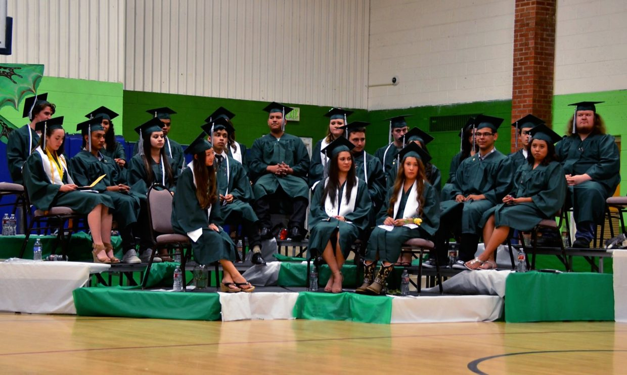 Bridges High School's graduating class of 2015 at the commencement ceremony Friday evening in the gymnasium at the Carbondale-based school.