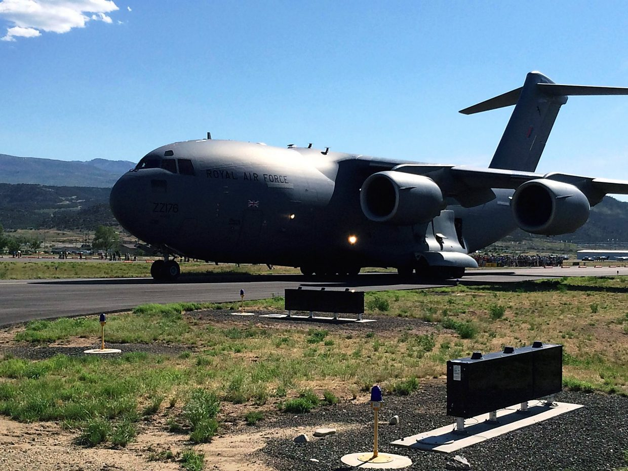 This Boeing C-17 Globemaster carrying a Royal Air Force Puma helicopter landed Thursday afternoon at the Rifle Garfield County Airport.