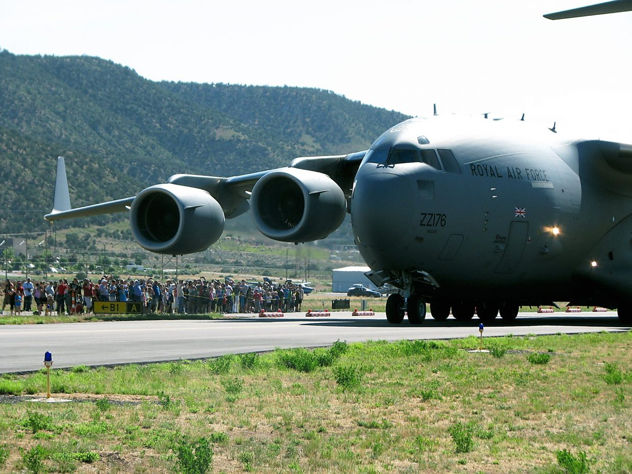 A crowd turned out at Rifle Garfield Country Airport to see the C-17 Globemaster land.