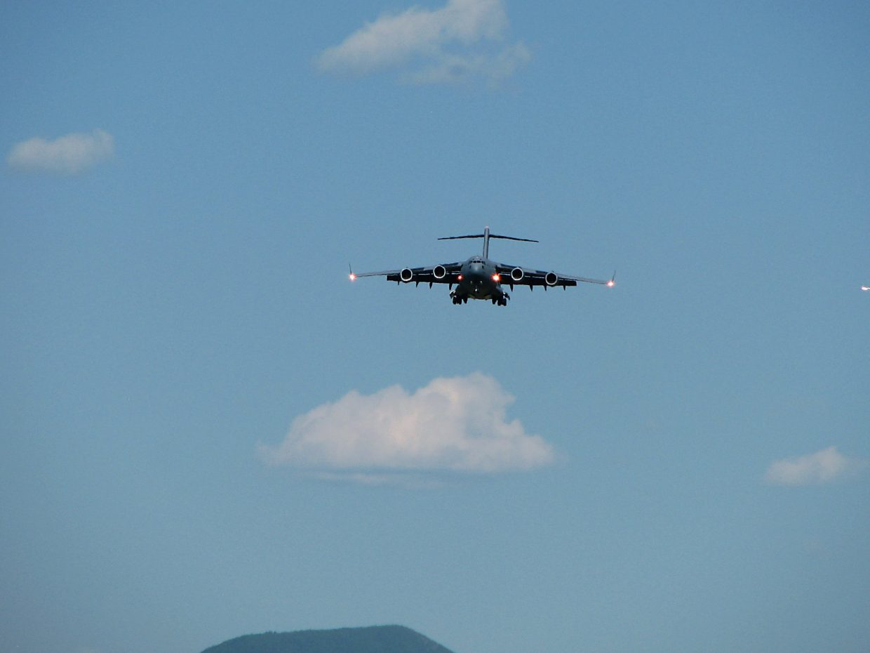 The Royal Air Force C-17 Globemaster approaches the Rifle Garfield County Airport Thursday.