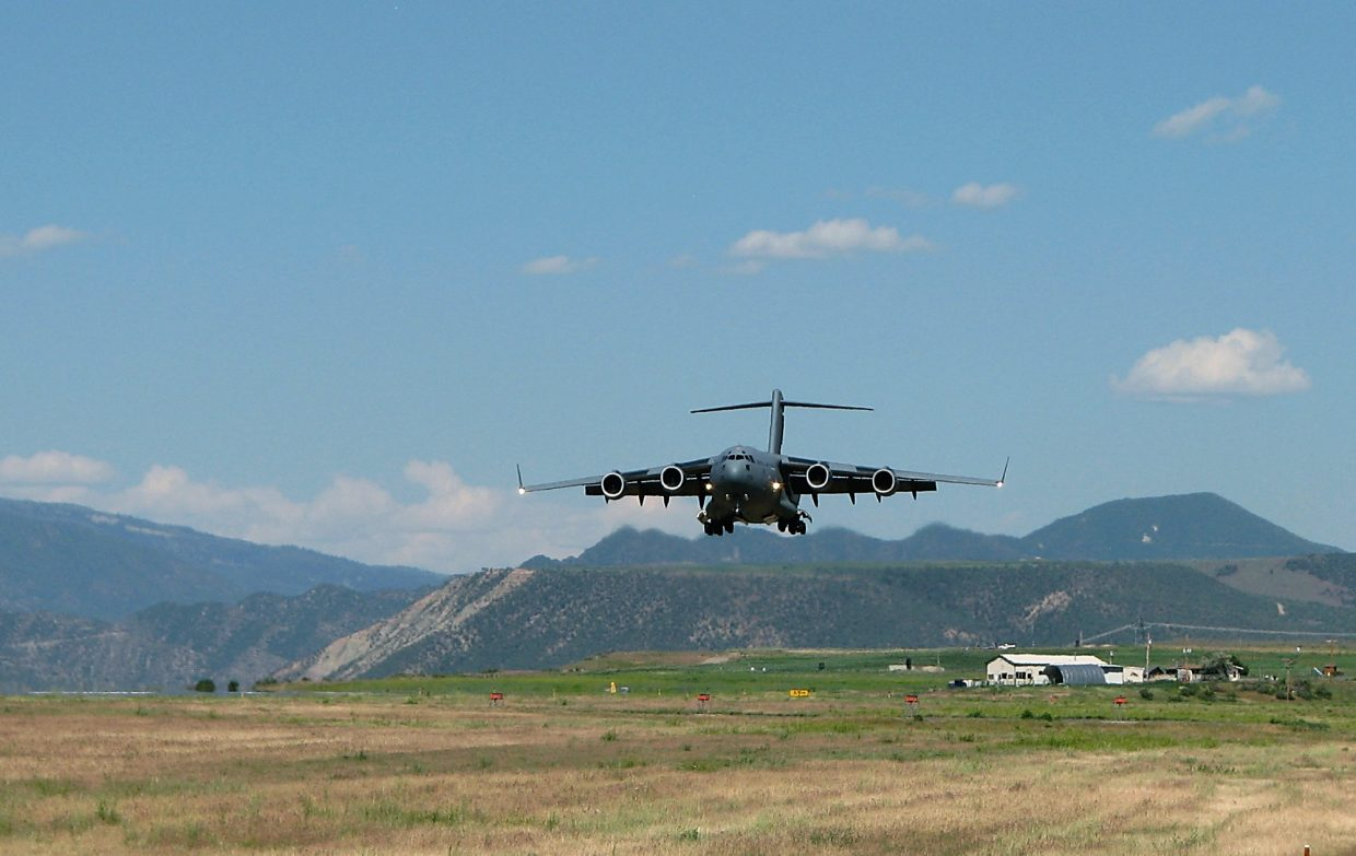 The RAF cargo jet is the biggest plane to ever land at Rifle's airport.