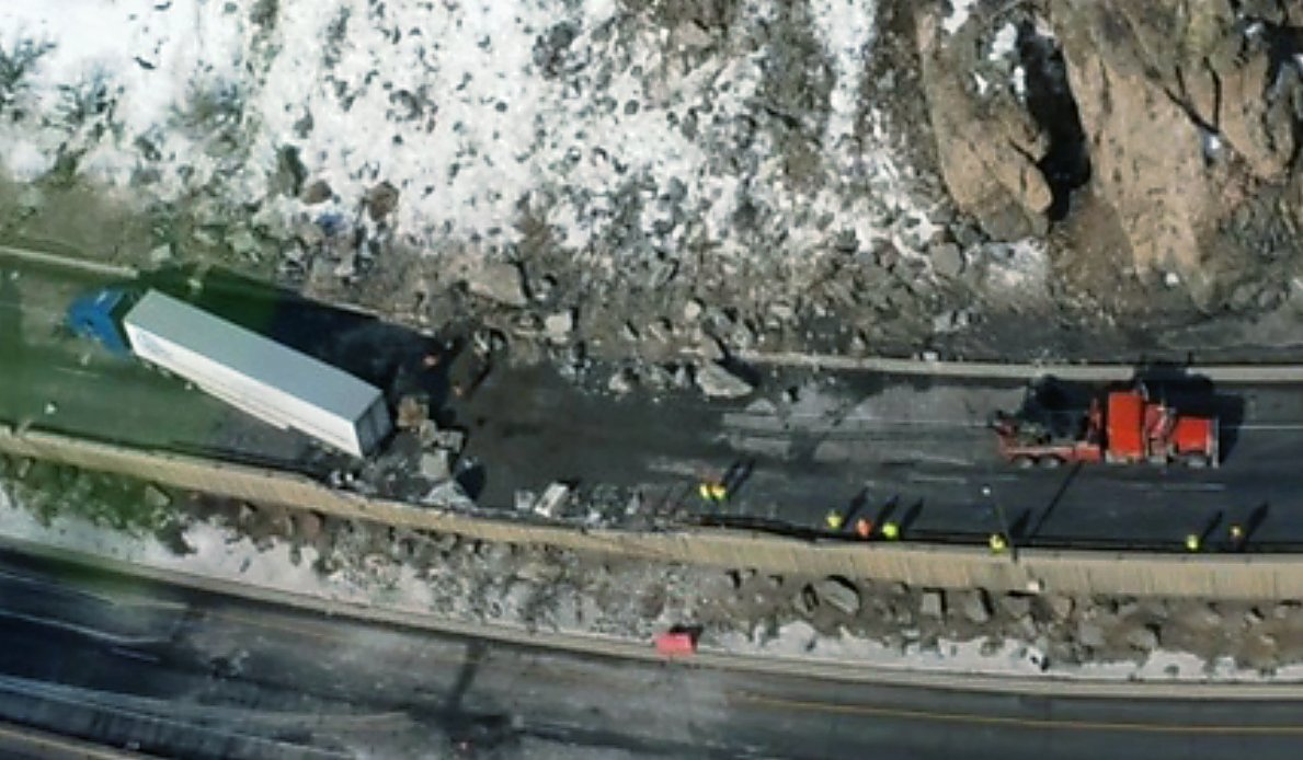 The Feb. 15 rockfall in Glenwood Canyon and the damaged semitruck as seen the next day from a helicopter surveying the damage for the Colorado Department of Transportation.