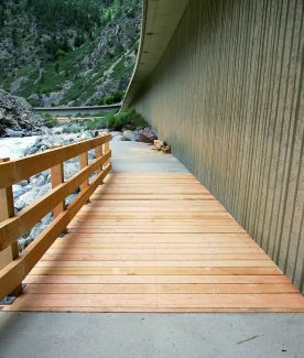A temporary wooden structure was built over the most heavily damaged section of the Glenwood Canyon bike path, allowing for the section from Grizzly Creek to Hanging Lake to open for August and September. The trail was damaged during the spring runoff.