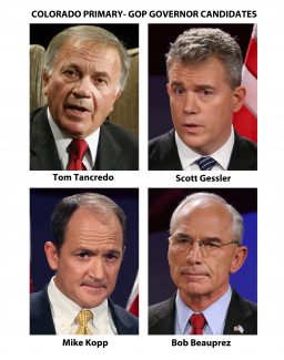 FILE - In their quest to unseat Gov. John Hickenlooper, Republicans are expected to face an uphill battle no matter who they pick as their party candidate in the primaries, Tuesday, June 24, 2014. The four candidates in the race are Tom Tancredo, Scott Gessler, Mike Kopp and Bob Beauprez.  (AP Photos/Files)