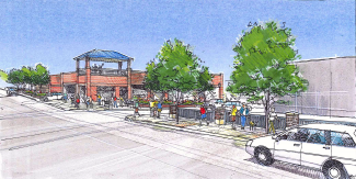An architectural rendering shows landscaping and other streetscape features at the corner of Ninth Street and Cooper Avenue in Glenwood Springs, with the new city parking garage in the background. The city and Downtown Development Authority are seeking construction bids to complete the work.