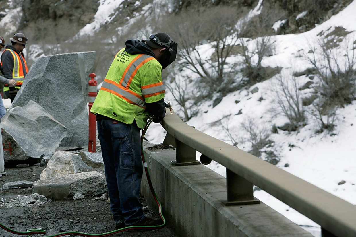 CDOT crews working in Glenwood Canyon following the Feb. 15 rockfall.