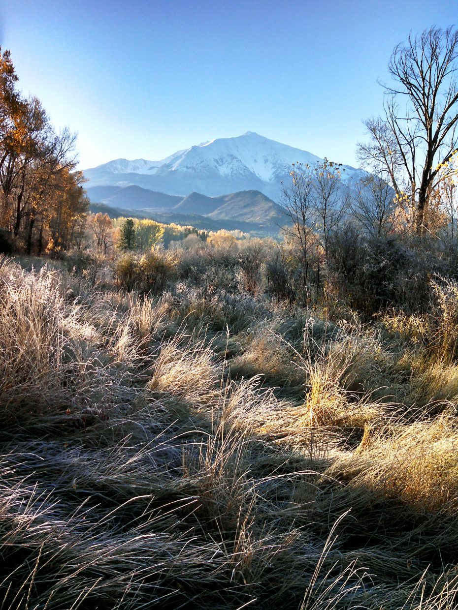 Mount Sopris and fall foliage showed off on a bright morning Saturday.