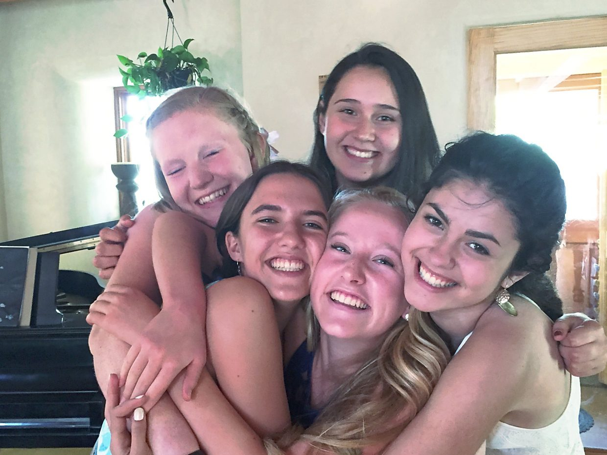 Clockwise from bottom left, Emily Bruell and her friends Tavia Teitler, Joselinne Medrano, Emily Mata and Fiona Laird.