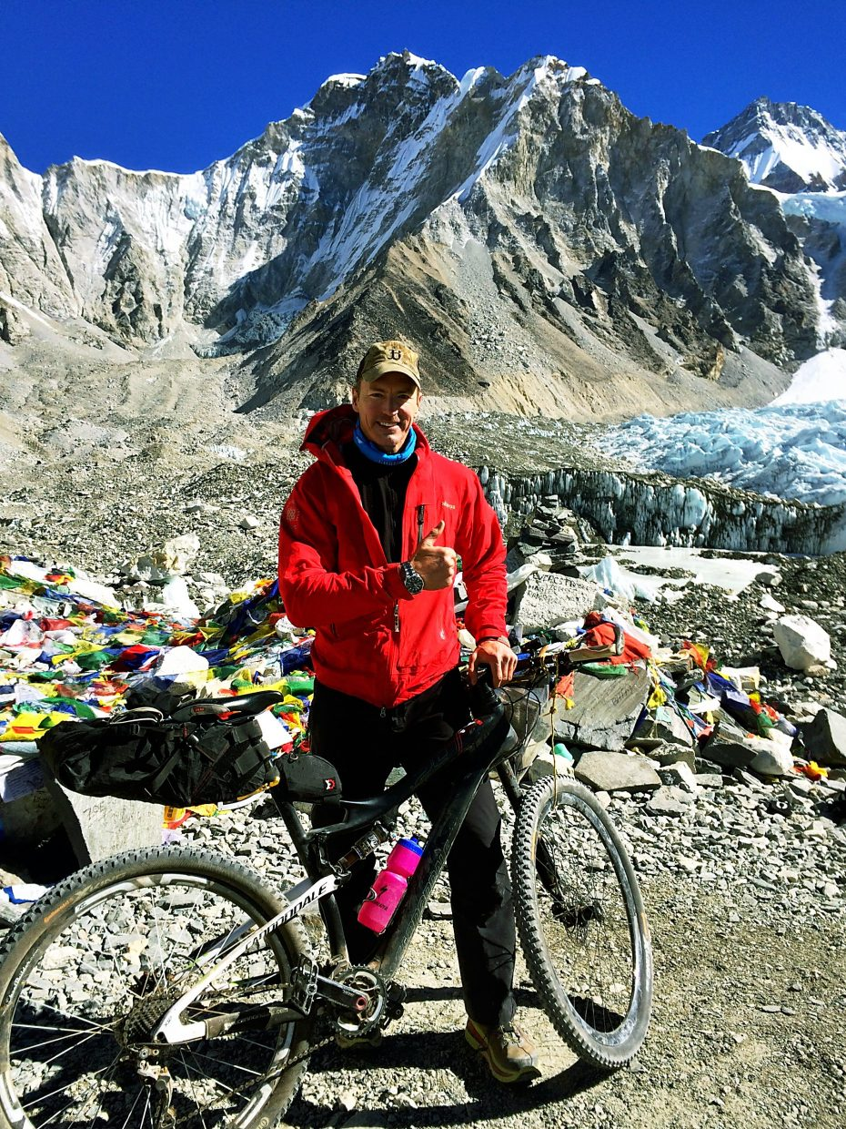 Patrick Sweeney enroute to becoming the first person in several decades to reach Mount Everest base camp on a bicycle.