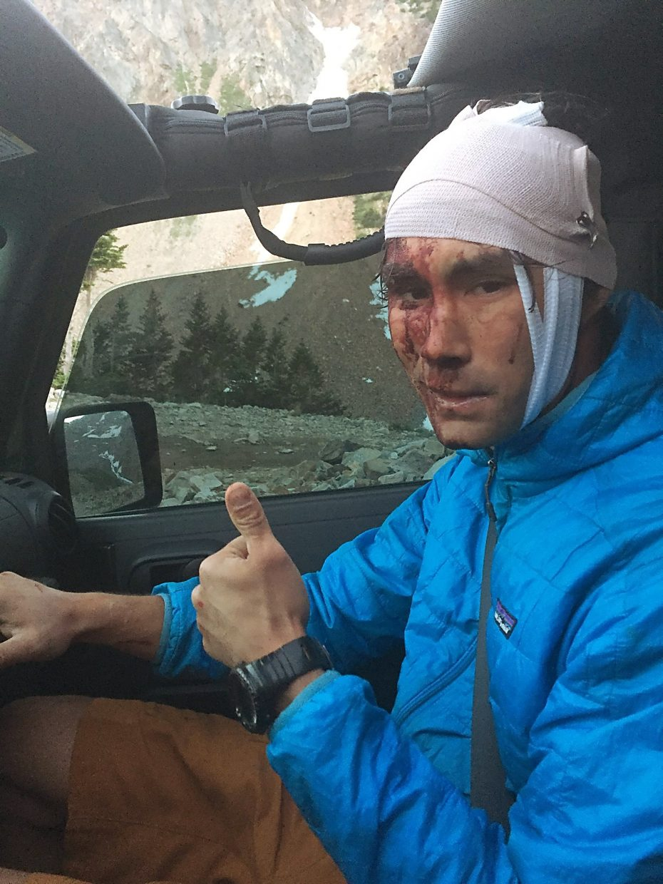 James Scully rolled his Toyota FJ Cruiser about 250 feet down a mountain Saturday near Montezuma Basin and walked away with minor injuries.