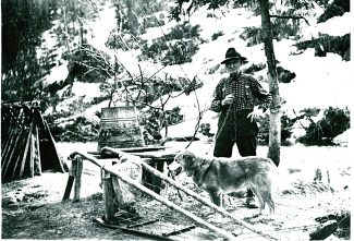 Arthur Reynolds is seen here with dog and dog sled in the Yukon Territory. His love affair with the north began in 1898 with a trip to the Klondike, inspiring him to move permanently to the Yukon in about 1907.  Photo Courtesy Frontier Historical Society