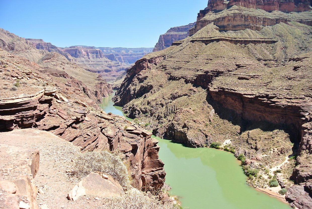 The Colorado River from the Grand Canyon ledge.