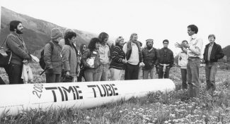Aspen Times file photoA group of locals gathered on the grounds of the Aspen Institute and Aspen Music Festival in June 1983 to bury the Aspen Time Tube. The plan was for it to be unearthed in 2000, but its exact location is currently unknown.