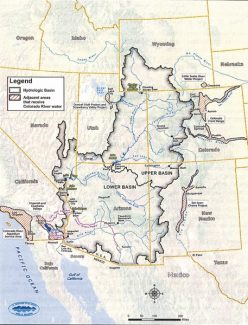 map courtesy U.S. Department of Interior, Bureau oThis map of the West shows the Colorado River Basin outlined in a black line, with state boundaries in yellow. Areas outlined outside the basin receive water diverted from the Colorado River or its tributaries. The river's water is divided between the upper basin and the lower basin. The U.S. also sends about 1.5 million acre-feet of water to Mexico.