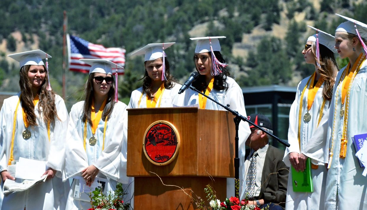 Valedictorians Sara Fleming, Hannah Nilsson, Morley Perrin, Carly Setterberg, Kira Willis and Lina Xochihua Castillo delivered the valedictory address on Saturday afternoon. Xochihua Castillo (at microphone) spoke in both Spanish and English.