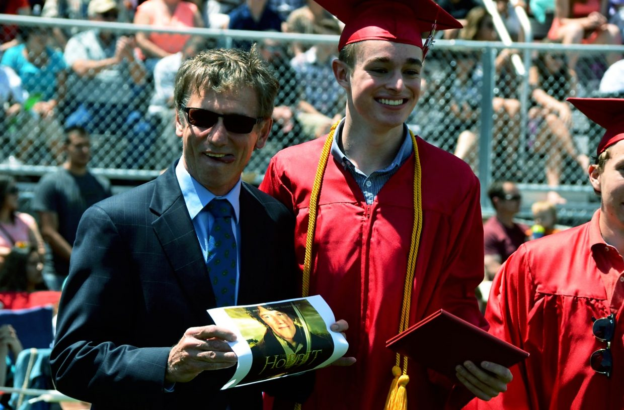 Ben Neiley, among other students, presented principal Paul Freeman with photoshopped images of his face in various movies poking fun at his English accent.