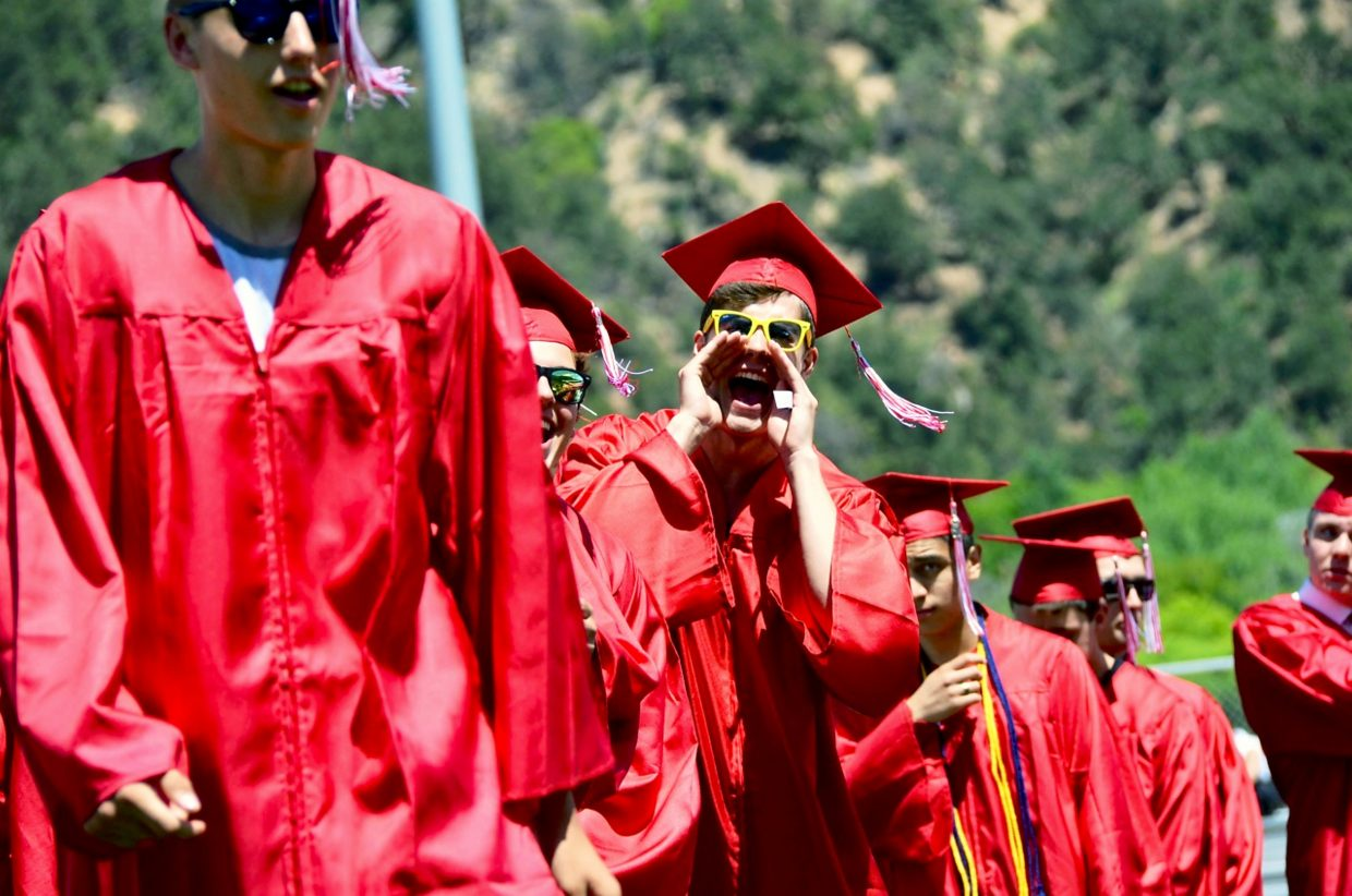 Students cheered for each other as they received their diplomas.