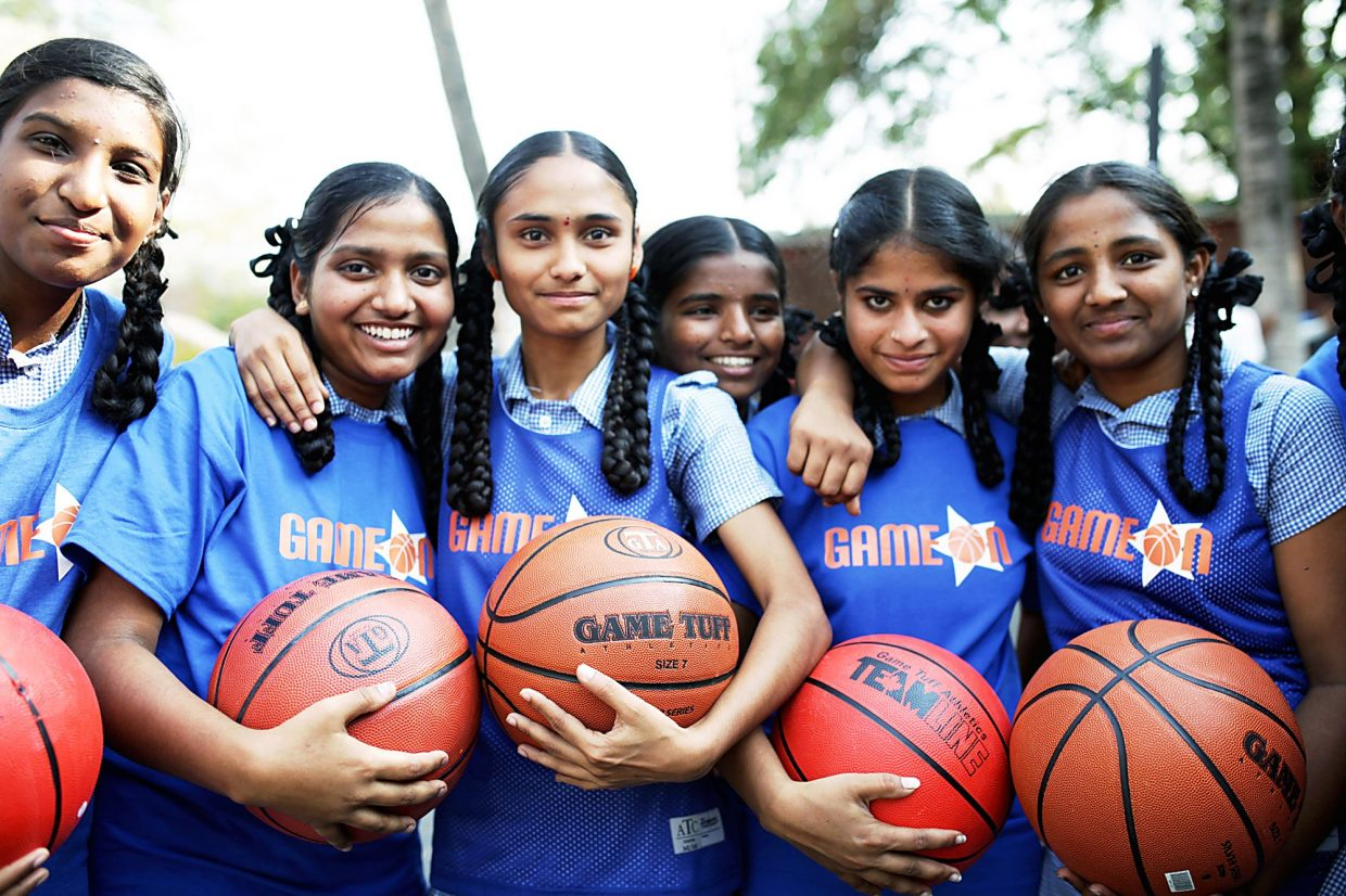 Some of the 40 girls participating in last month's Game On basketball camp in India.