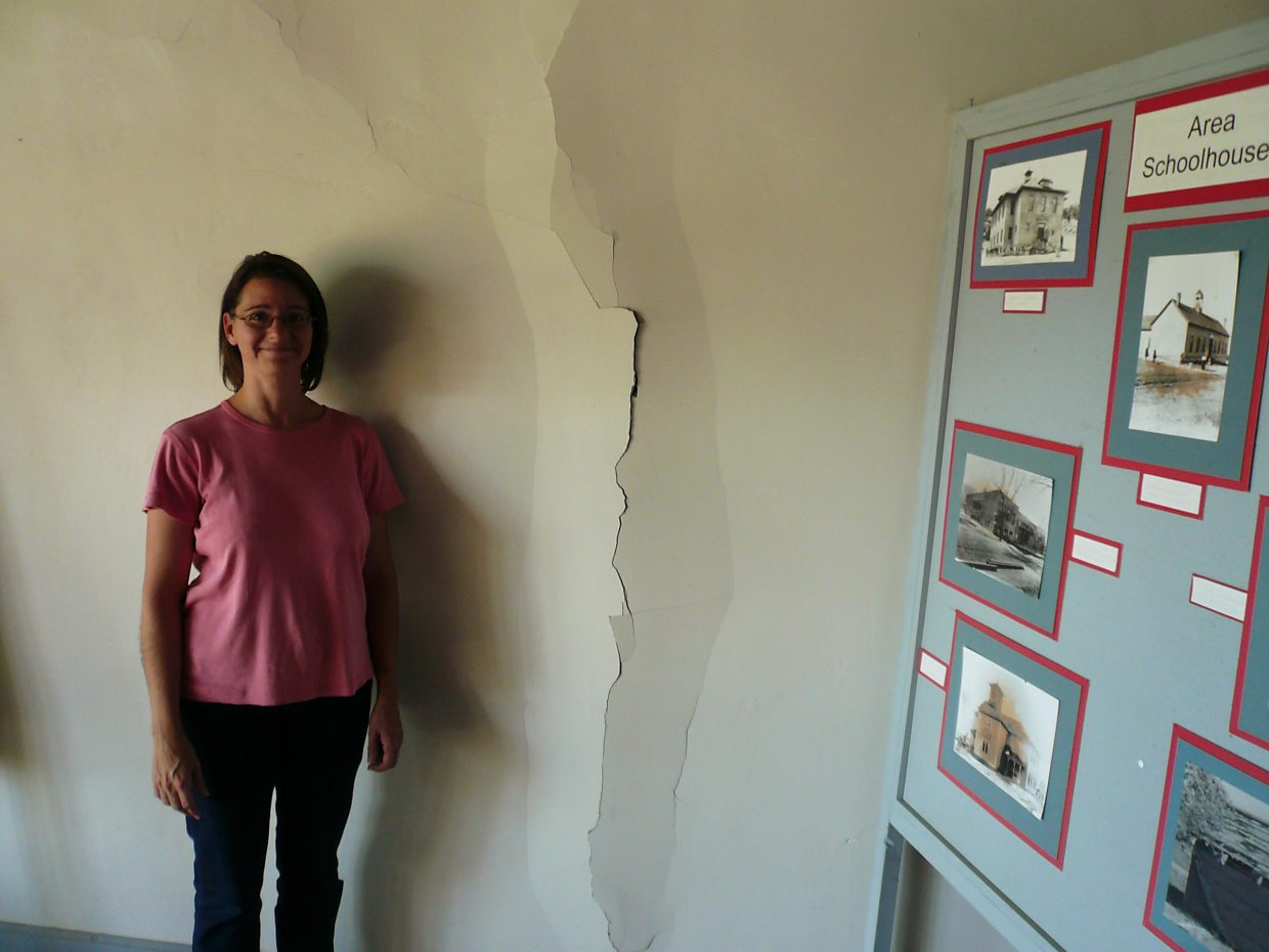 A 10-foot crack formed in the wall on the second floor fo the Cokedale Post Office and City Hall after the 2011 Trinidad earthquake.