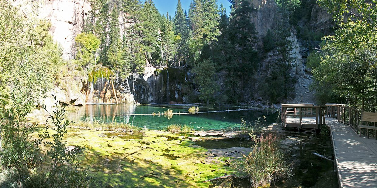 A rare sight: Hanging Lake with no visitors.