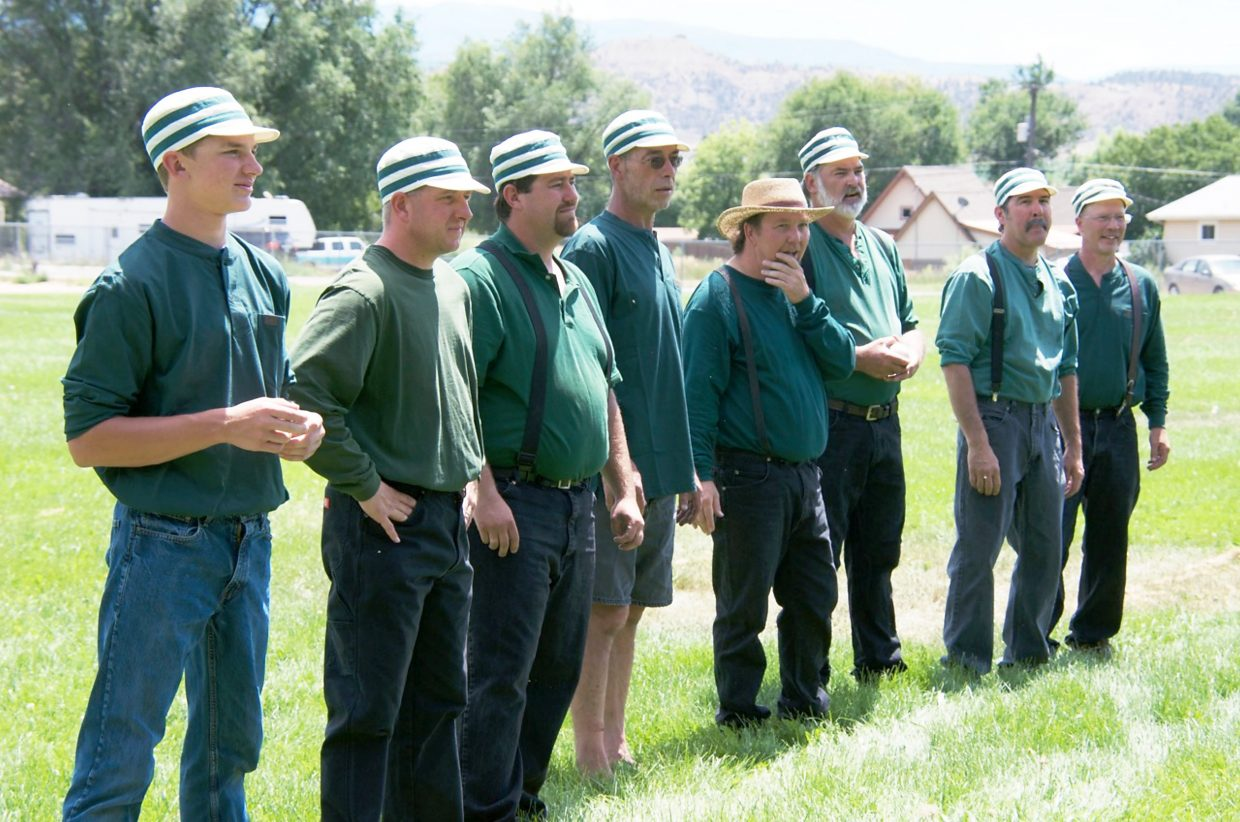 Members of Silt's vintage baseball team dressed in green shirts, jeans and suspenders in the 90-degree day. Nonetheless, they seemed to be enjoying themselves.