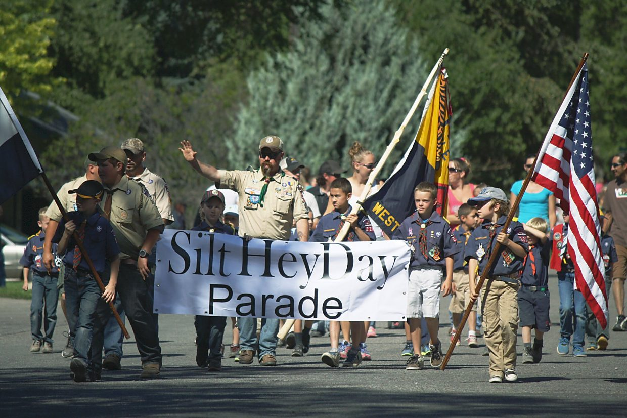 Scouts from Boy Scout Troop No. 220 lead the annual Silt HeyDay parade Saturday.