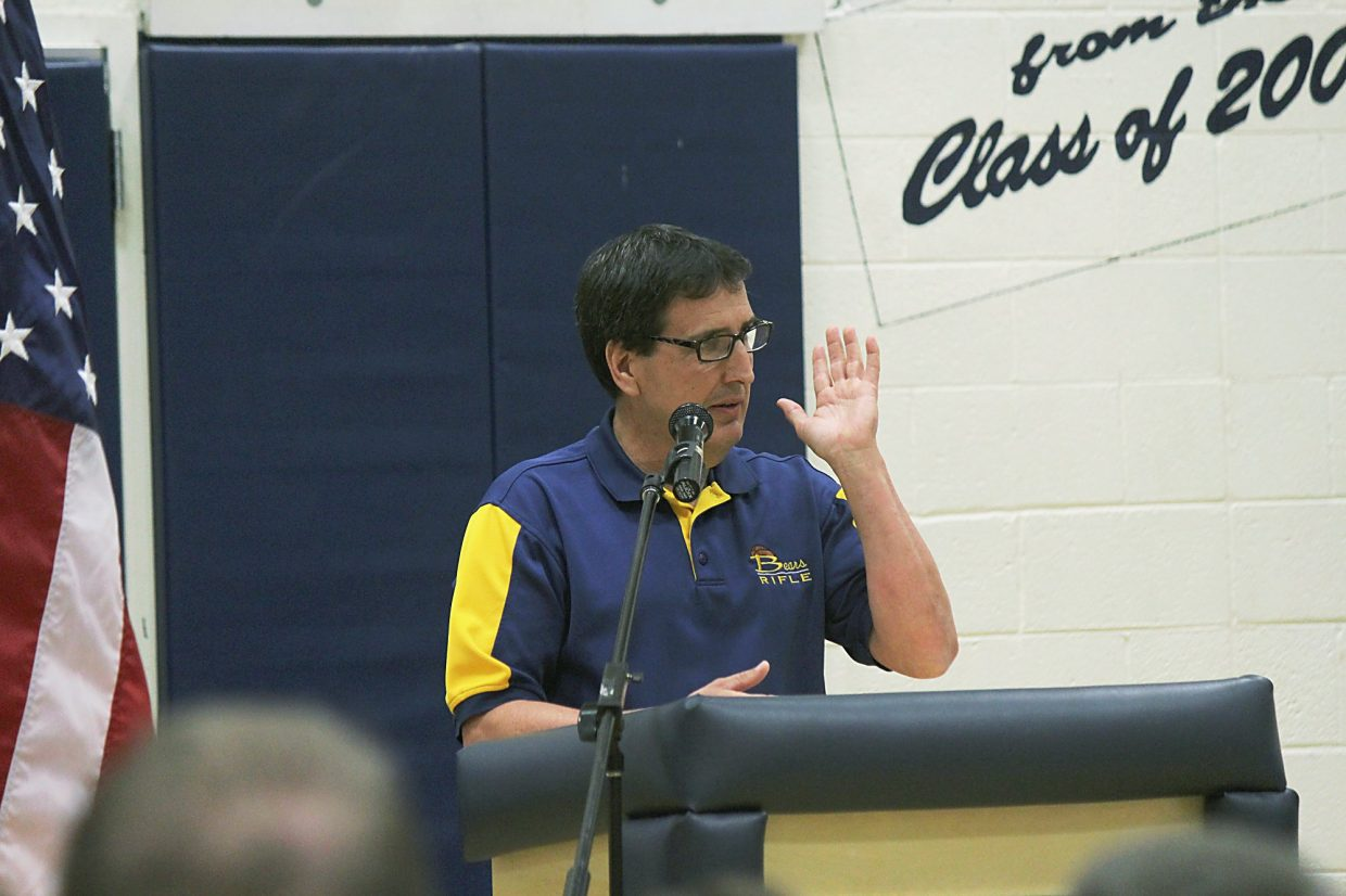 Former Rifle High School coach Brad Skinner delivers a eulogy Saturday at a memorial service for Jack Smith.