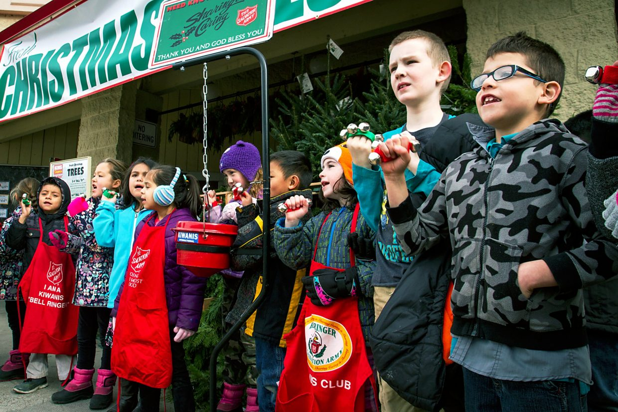 Second graders from Glenwood Springs Elementary School spent the afternoon at City Market volunteering to ring the bells and collect donations for the Kiwanis Club and the Salvation Army. Ms. Leatherby's class was just one of five of the second grade classes to volunteer their time. Every month GSES participates in a program called