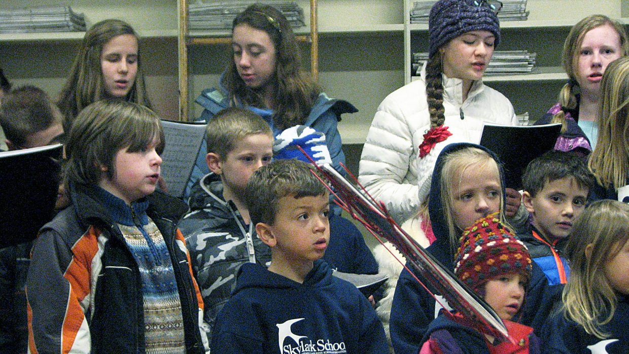 Students from The Skylark School out of Rifle stopped by the Post Independent office downtown to sing some Christmas carols for the staff.