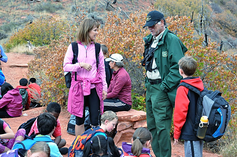 Bill Kight visits the South Canyon Fire overlook with an elementary school class in 2015.