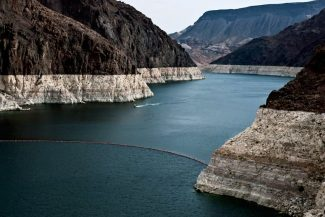 """The white ring """"around the tub"""" shows how much elevation the surface of Lake Mead has lost with drought stress on the Colorado River."""