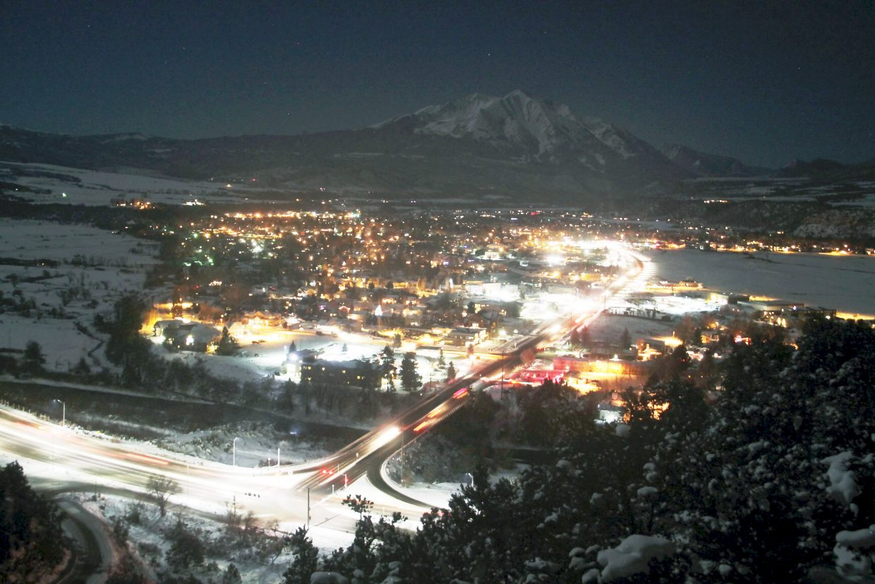 A classic view of Carbondale at night, with Mount Sopris visible to the south.