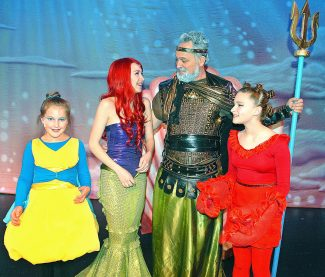 "From left, Garden School actors Hope Starr as Sebastian, Madeleine Miller as Ariel, David Miller as King Triton and Camden Newitt as Flounder star in ""The Little Mermaid"" this weekend at Glenwood Springs High School."