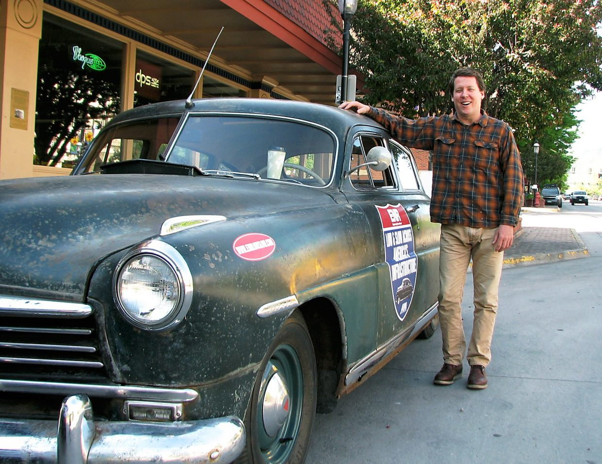 Dan McNichol, an author and freelance writer who is acting as a correspondent this summer for Engineering News-Record magazine, stands beside his 1949 Hudson,m which he bought for $3,500 on eBay. He was in Glenwood Springs on Wednesday morning on a cross-country trip with ENR editor Aileen Cho meant to examine and draw attention to the nation's crumbling infrastructure — which he says is roughly the age of the Hudson. The tour is called Low and Slow Across America's Infrastructure. McNichol and Cho met with Colorado Department of Transportation engineer Joe Elsen and local business people to learn about the Grand Avenue bridge.