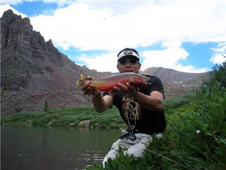 Taylor Creek Fly Shop fishing guide Kirk Webb holds up a magnificant cutthroat trout.