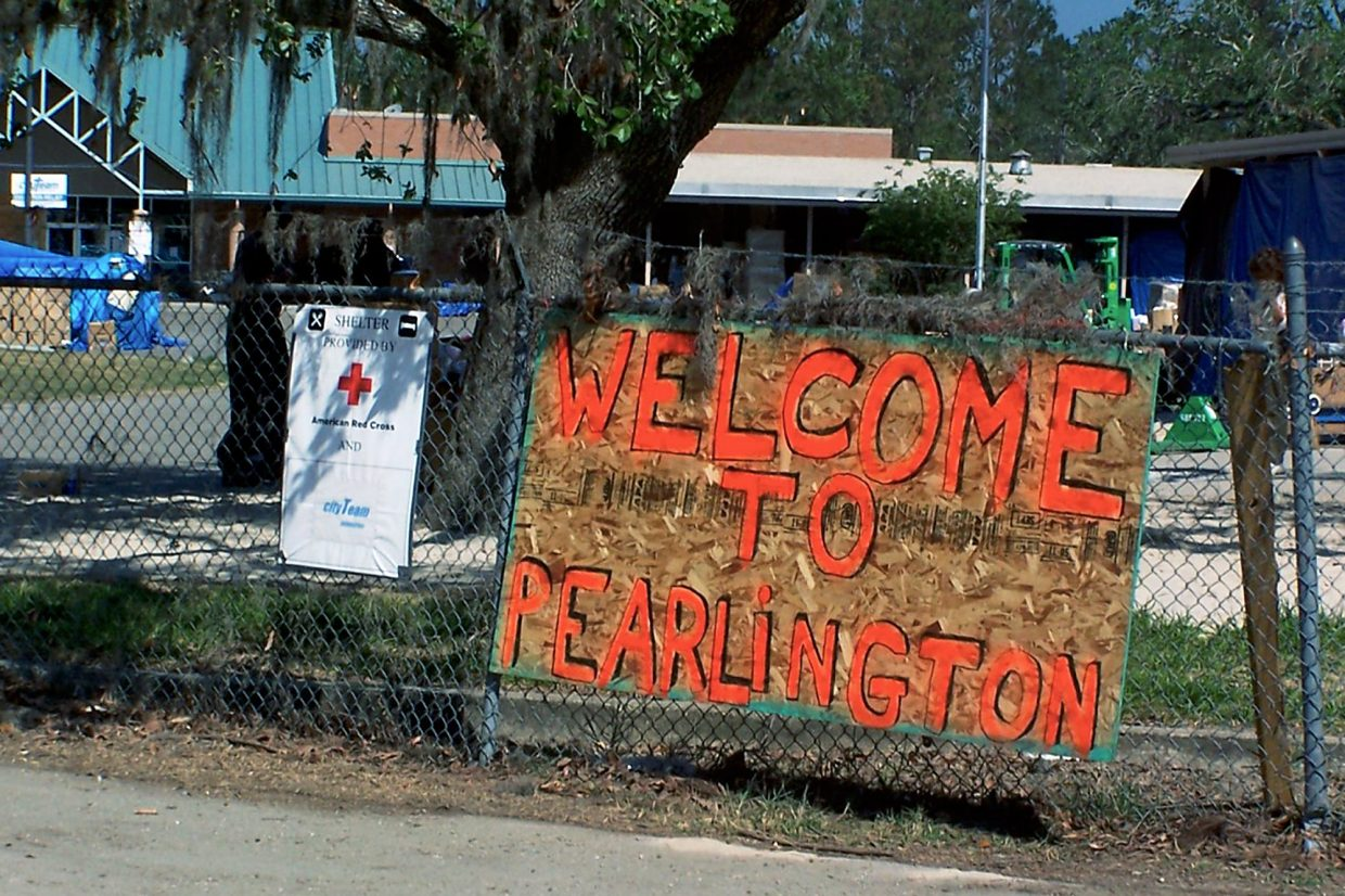 Pearlington's location on the Gulf, as show by Google Maps.