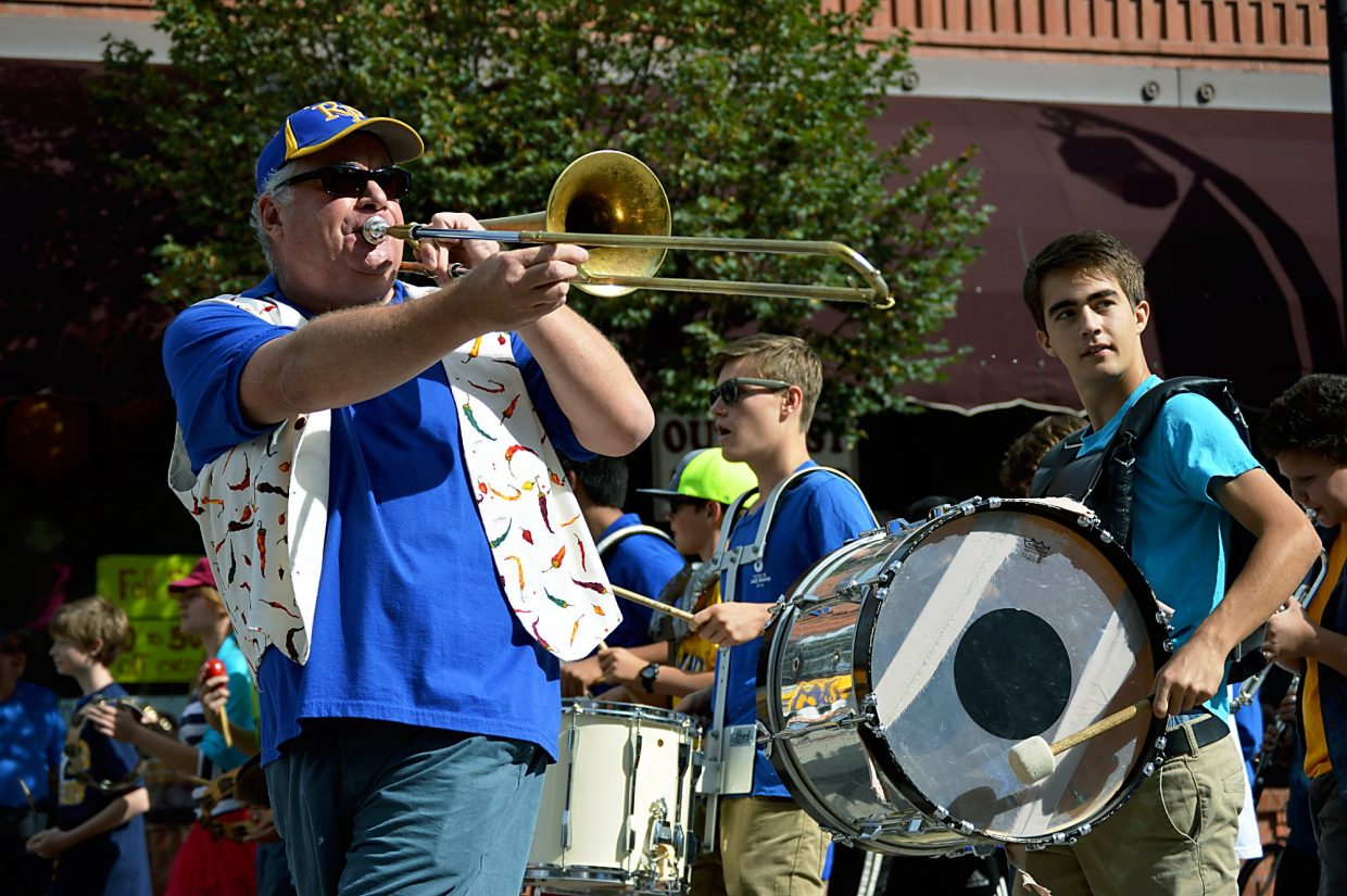 The Carbondale Middle School marching band was just one of many local groups to appear in the annual Potato Day parade down Main Street on Saturday.