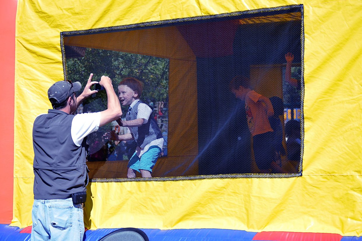 One of the many attractions of Potato Day for kids is this bouncy house, which was set up in Sopris Park on Saturday.