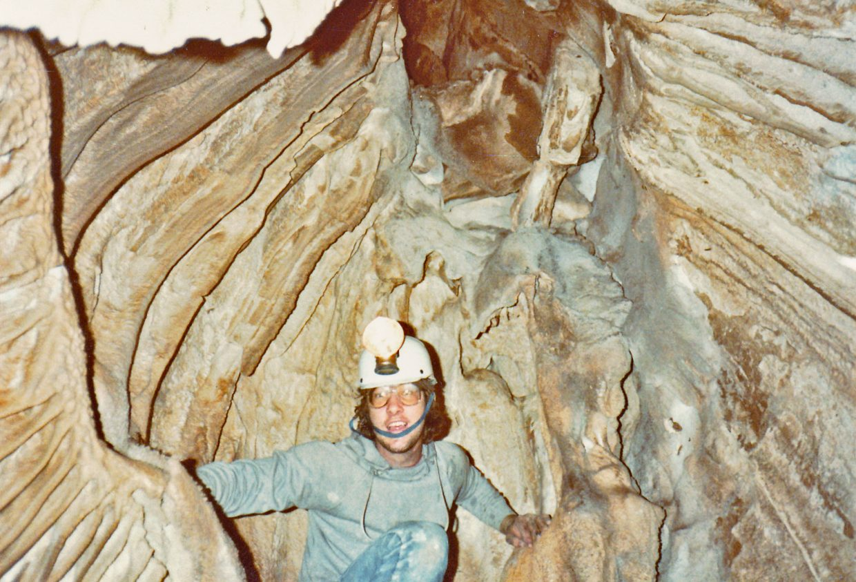 A young Steve Beckley in 1983, caving in the Guadalupe Mountains of New Mexico.