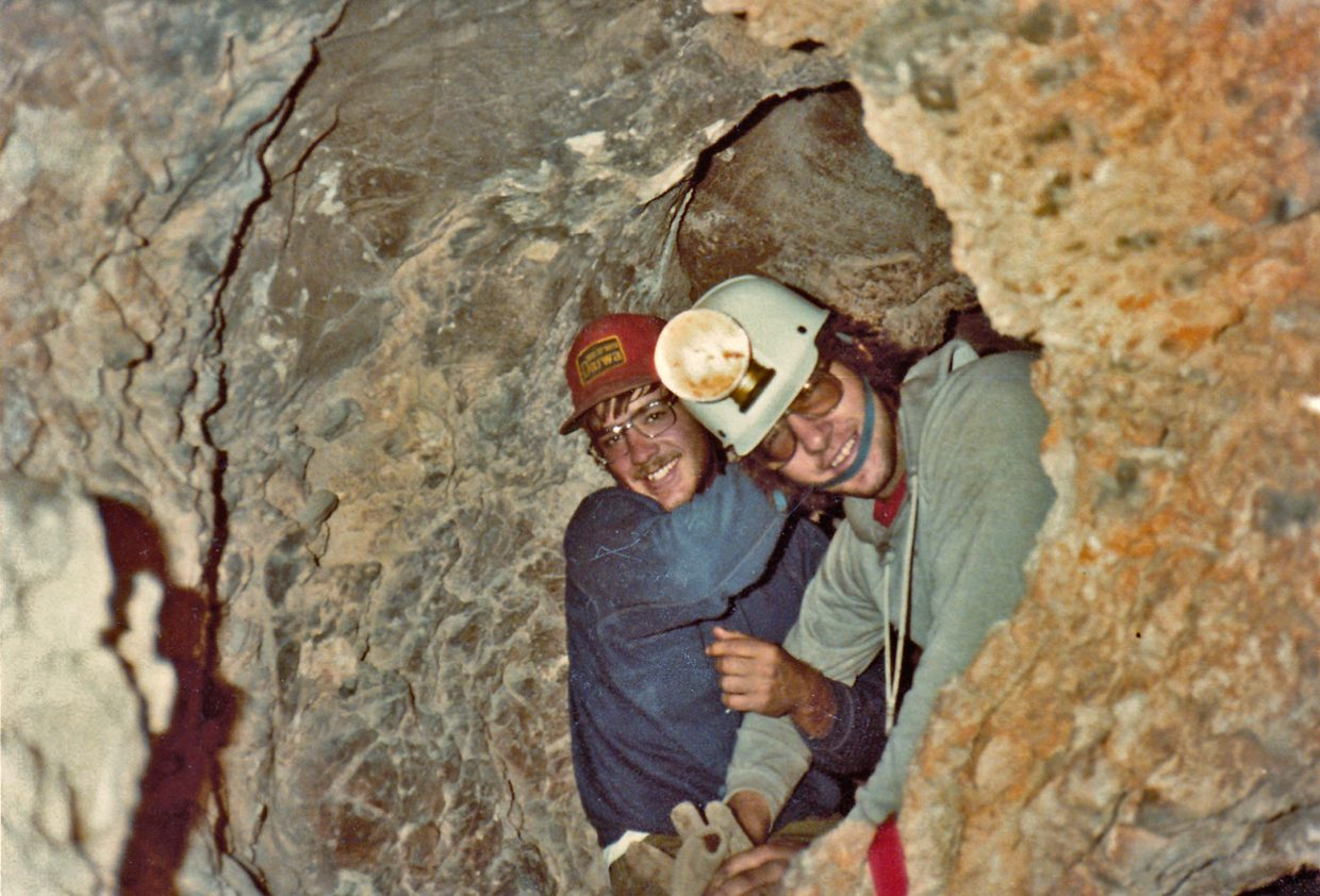 Steve Beckley, front, with friend and fellow caver Gary Harris in the Guadalupe Mountains of New Mexico, circa 1983.