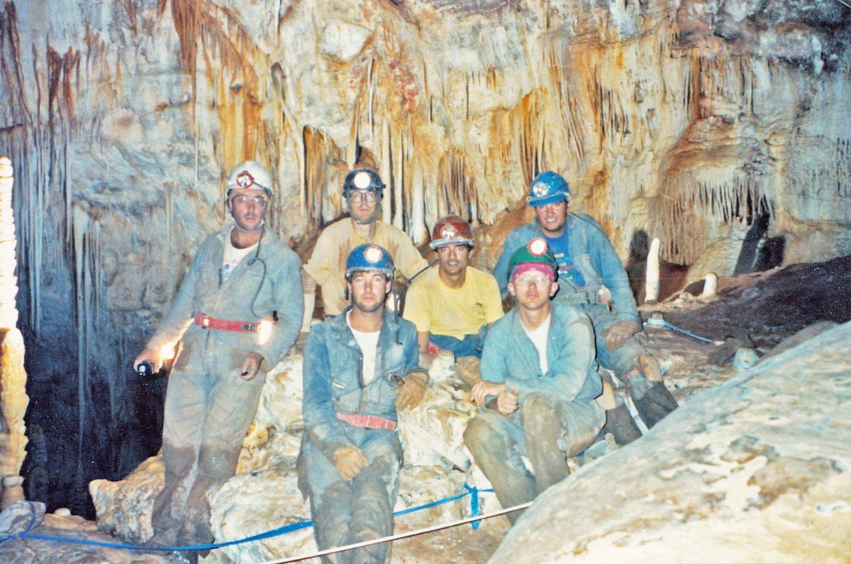 Steve Beckley, front, and friends in the Virgin Cave located in the Guadalupe Mountains of New Mexico, circa 1983.