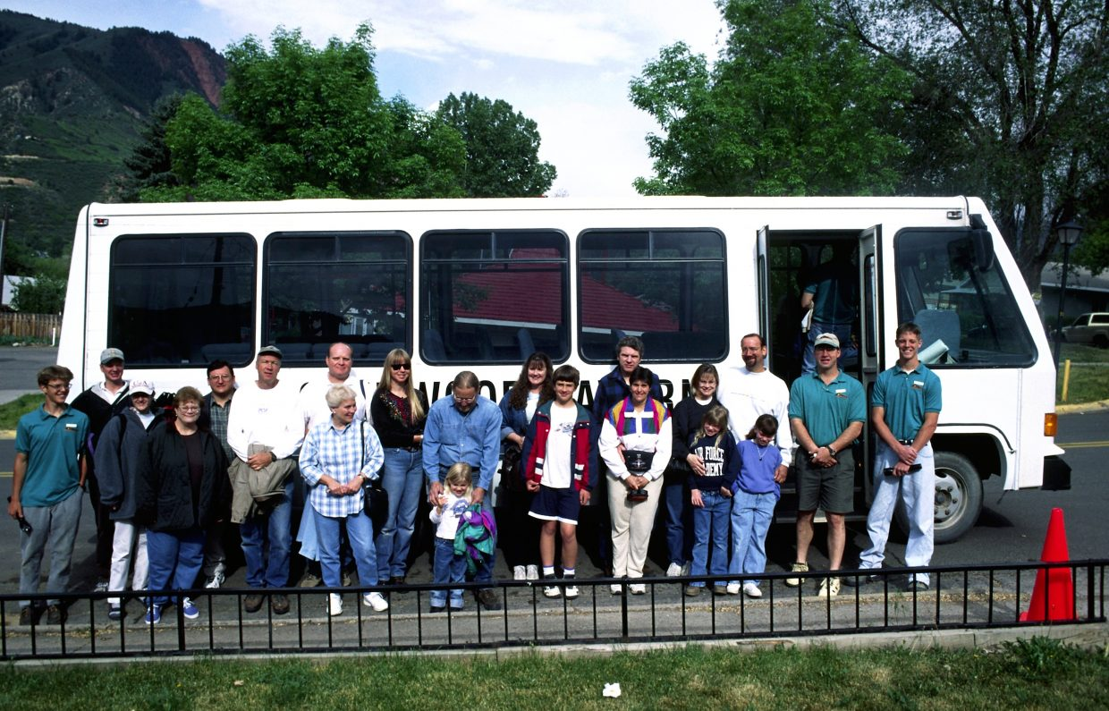 Some of the first visitors get ready to ride up to the reopened Fairy Caves in Glenwood Springs in 1999, before it became known as Glenwood Caverns Adventure Park.