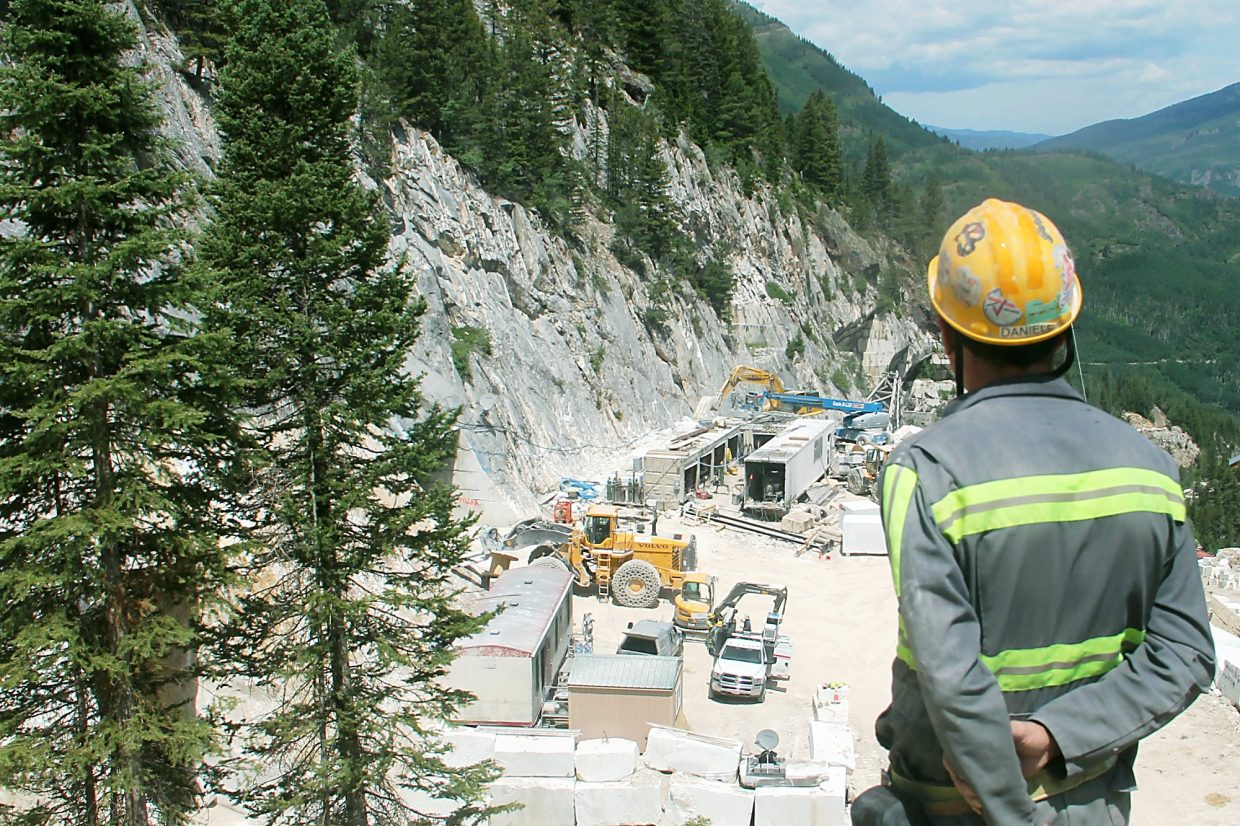 Daniele Treves surveys operations at Colorado Stone Quarries near Marble.