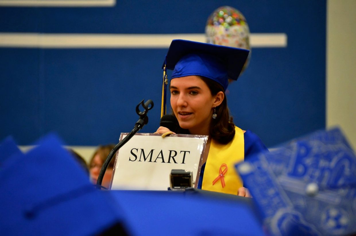 One of three Roaring Fork High School valedictorians, Emily Bruell made a statement about labels during commencement Saturday morning.