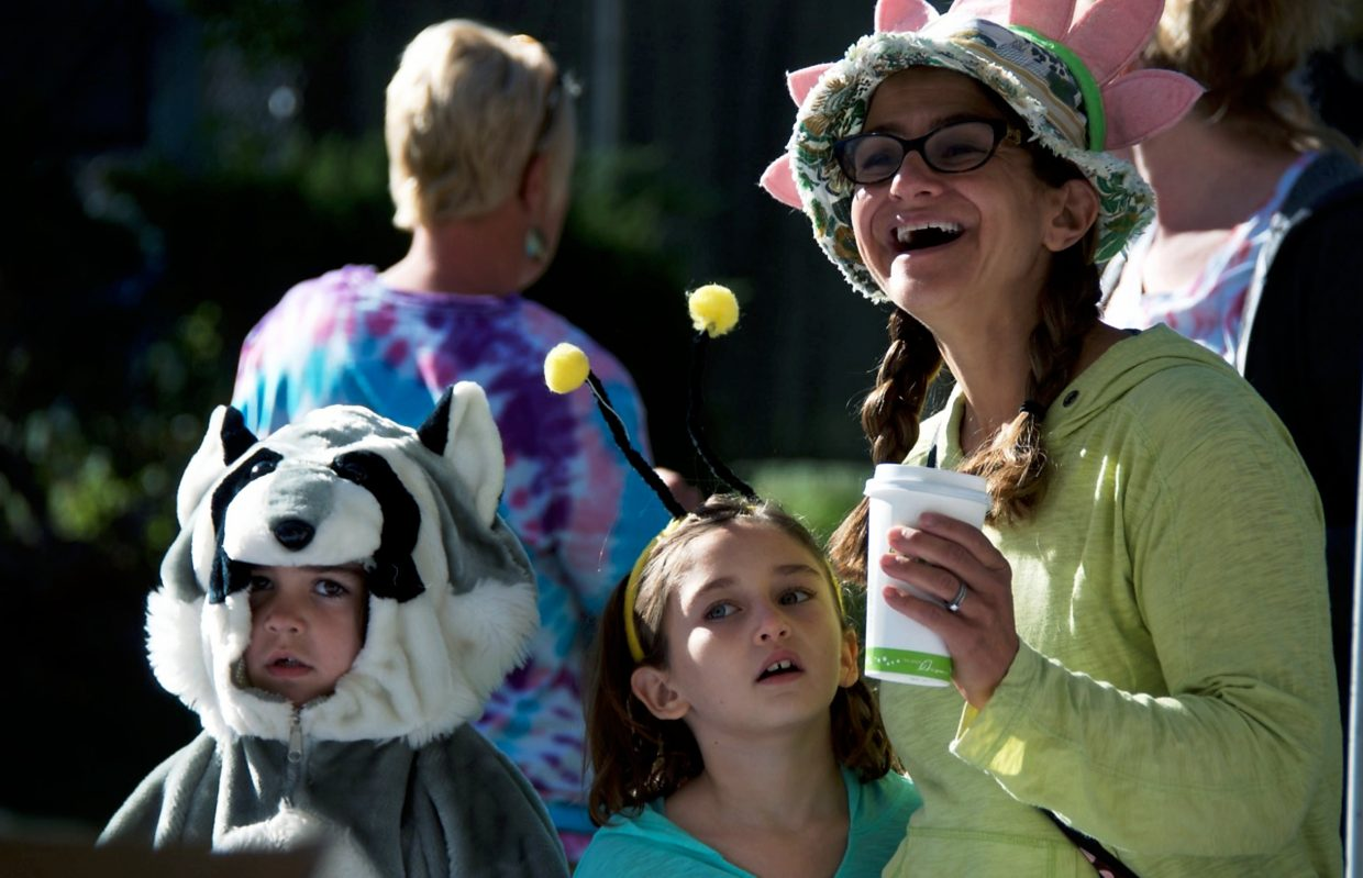 Rebecca Romeyn came to Rally the Valley with Ella Fosnaught and daughter Sydney Romeyn (in raccoon costume) to support the Caalway-Young Cancer Center.